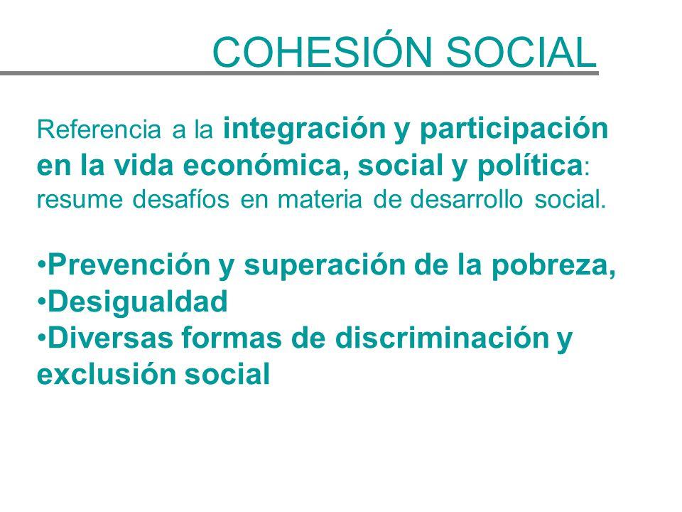 Referencia a la integración y participación en la vida económica, social y política : resume desafíos en materia de desarrollo social. Prevención y su