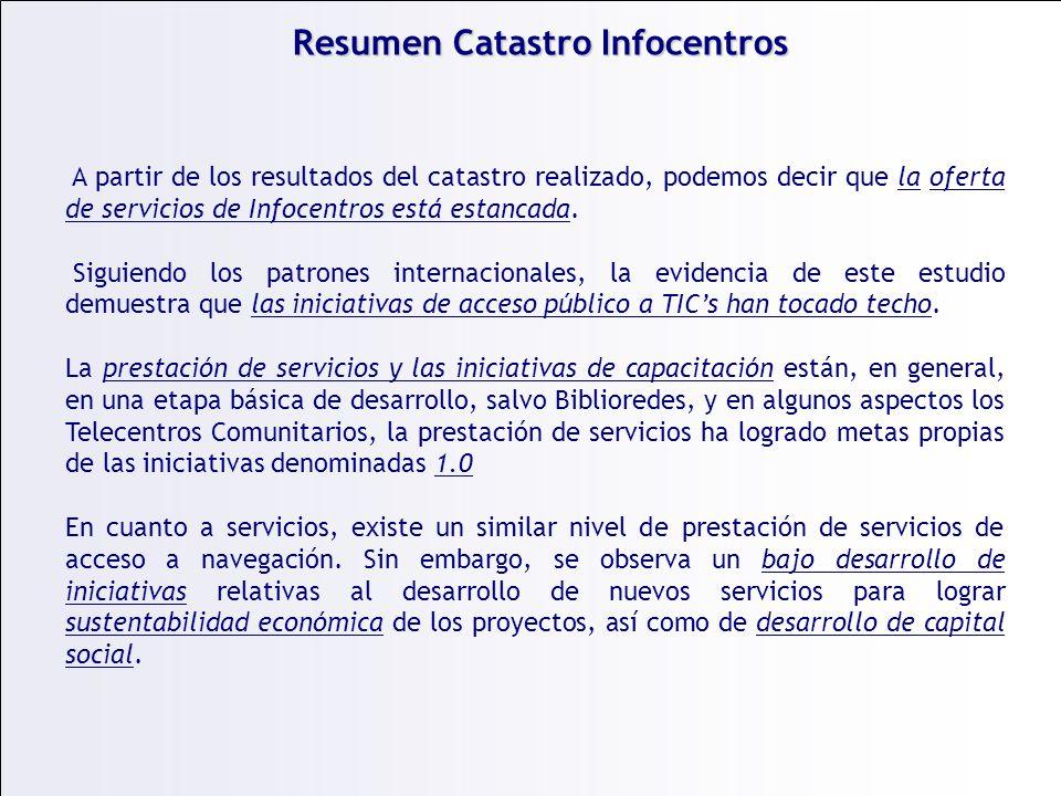 Resumen Catastro Infocentros A partir de los resultados del catastro realizado, podemos decir que la oferta de servicios de Infocentros está estancada