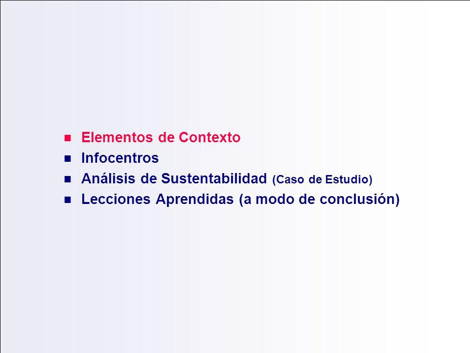 Elementos de Contexto Infocentros Análisis de Sustentabilidad (Caso de Estudio) Lecciones Aprendidas (a modo de conclusión)