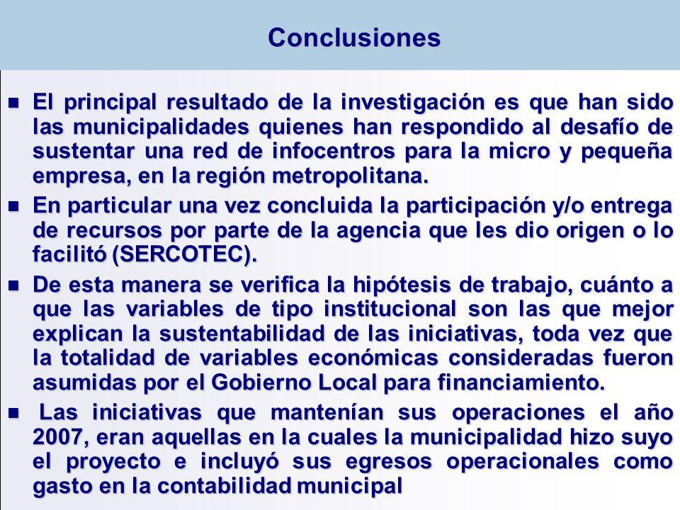 El principal resultado de la investigación es que han sido las municipalidades quienes han respondido al desafío de sustentar una red de infocentros p