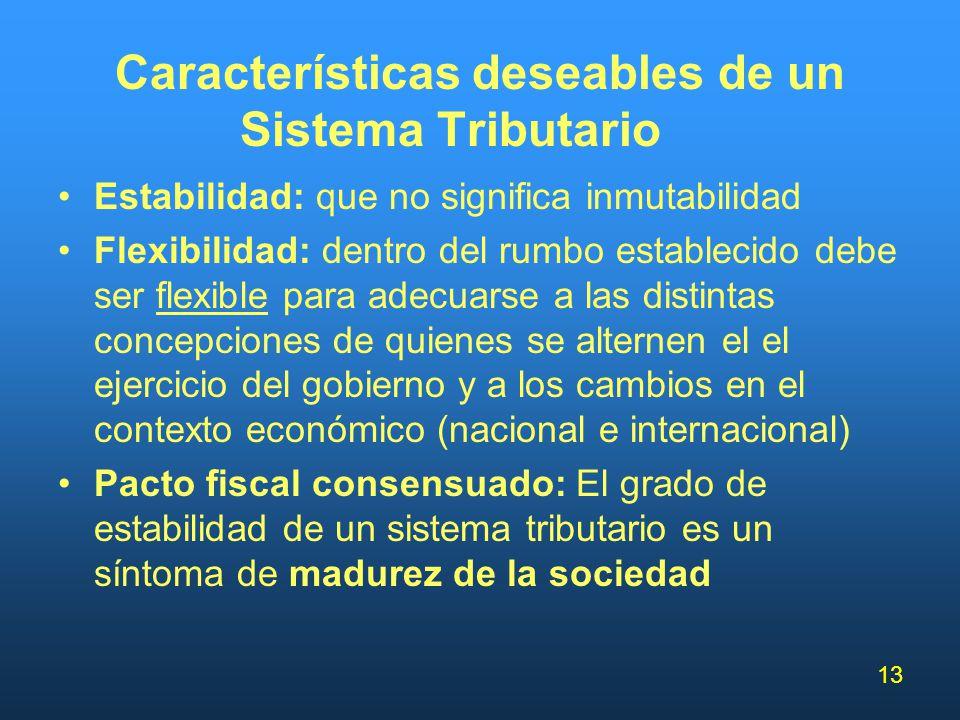 13 Características deseables de un Sistema Tributario Estabilidad: que no significa inmutabilidad Flexibilidad: dentro del rumbo establecido debe ser