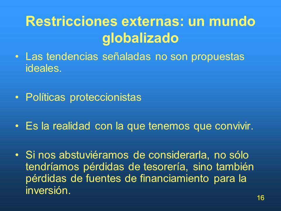 16 Restricciones externas: un mundo globalizado Las tendencias señaladas no son propuestas ideales. Políticas proteccionistas Es la realidad con la qu