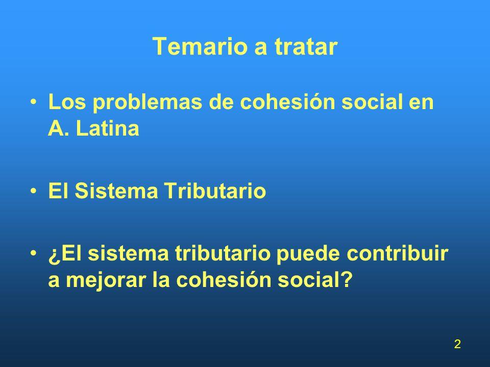 2 Temario a tratar Los problemas de cohesión social en A. Latina El Sistema Tributario ¿El sistema tributario puede contribuir a mejorar la cohesión s