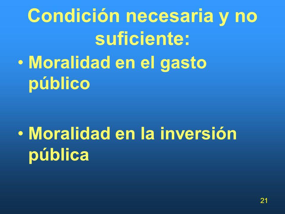 21 Condición necesaria y no suficiente: Moralidad en el gasto público Moralidad en la inversión pública