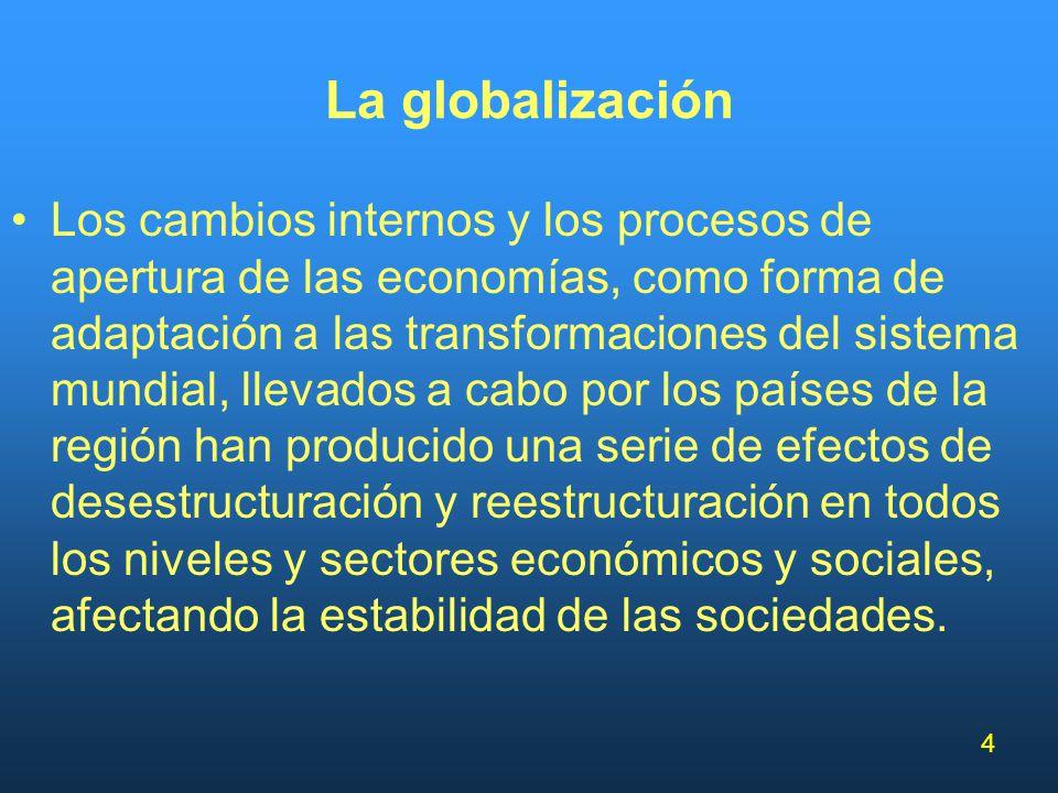 4 La globalización Los cambios internos y los procesos de apertura de las economías, como forma de adaptación a las transformaciones del sistema mundi