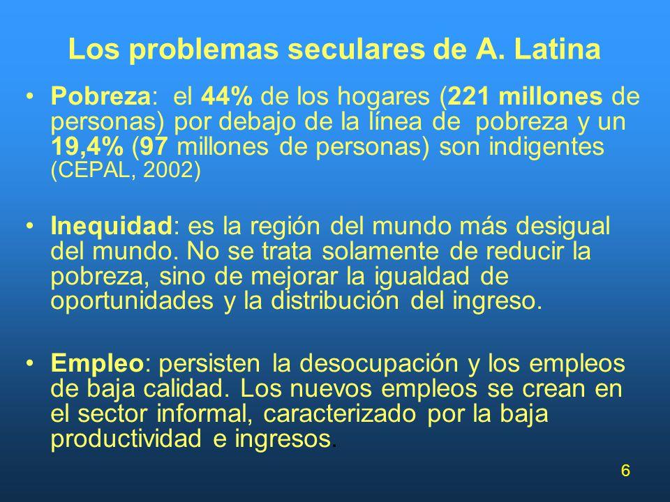 6 Los problemas seculares de A. Latina Pobreza: el 44% de los hogares (221 millones de personas) por debajo de la línea de pobreza y un 19,4% (97 mill