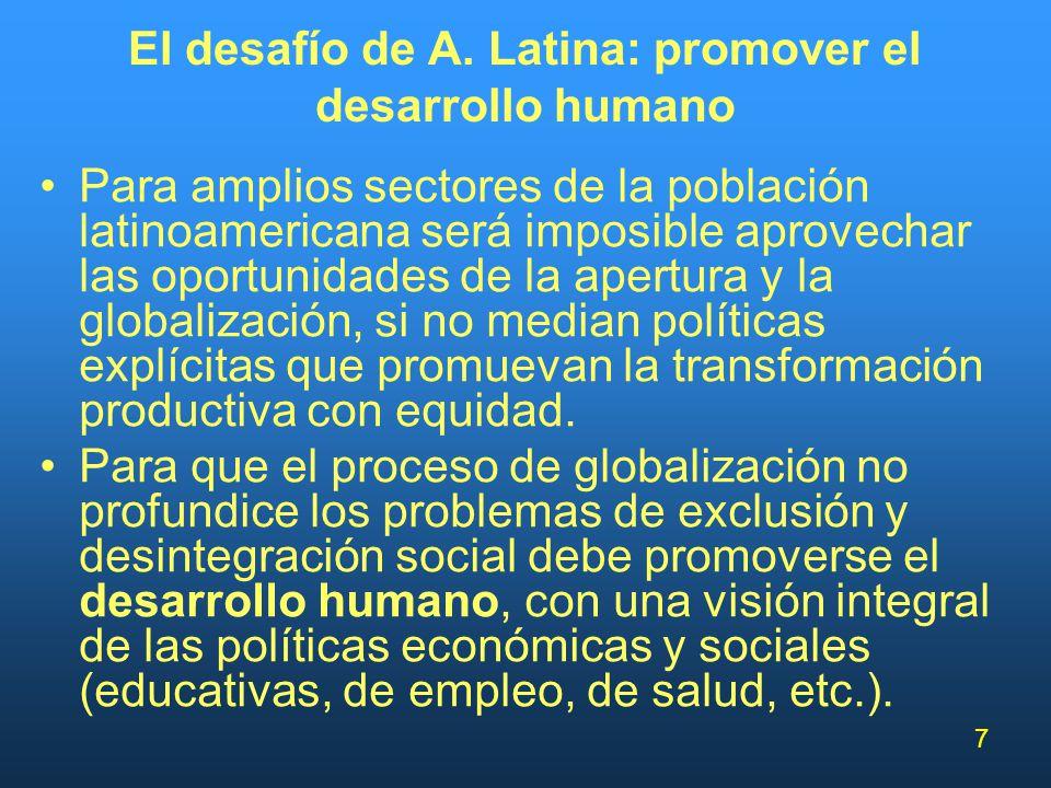 7 El desafío de A. Latina: promover el desarrollo humano Para amplios sectores de la población latinoamericana será imposible aprovechar las oportunid