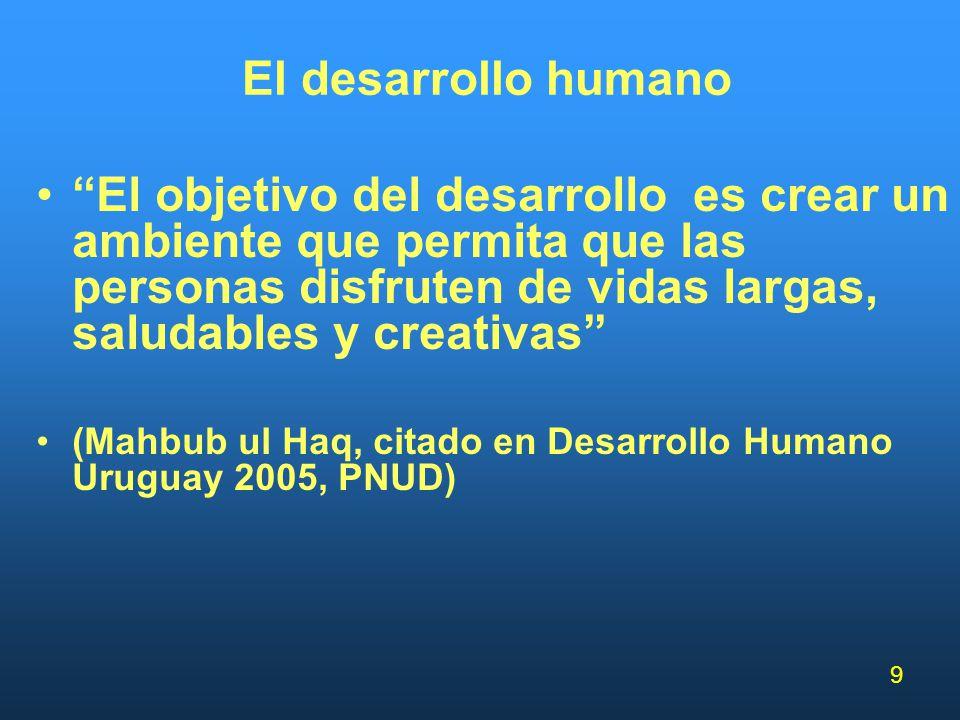 9 El desarrollo humano El objetivo del desarrollo es crear un ambiente que permita que las personas disfruten de vidas largas, saludables y creativas