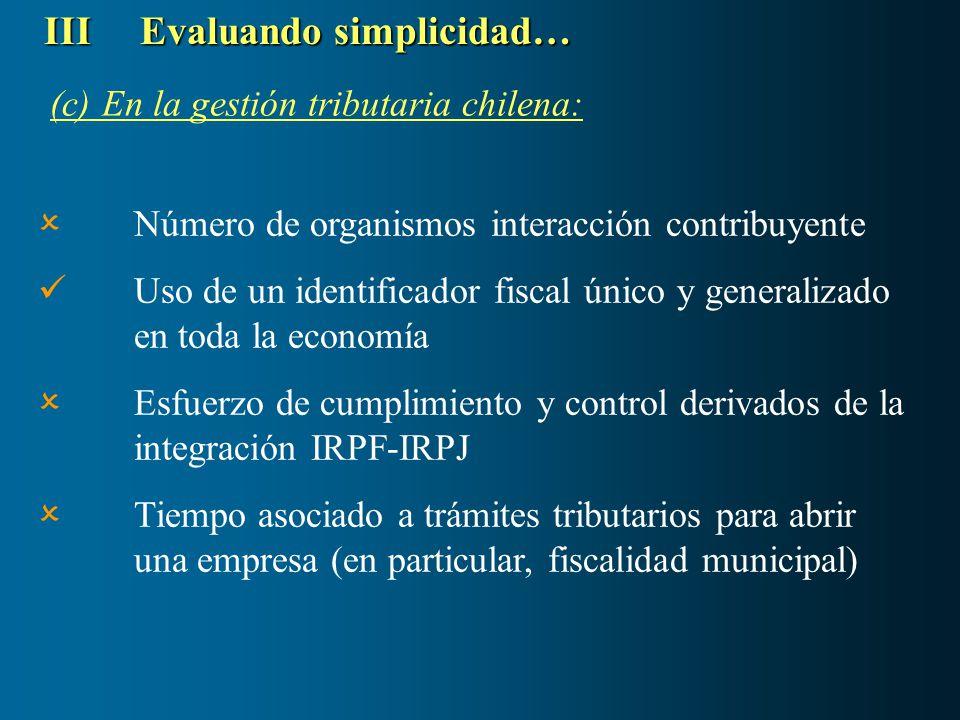 (c) En la gestión tributaria chilena: IIIEvaluando simplicidad… Número de organismos interacción contribuyente Uso de un identificador fiscal único y