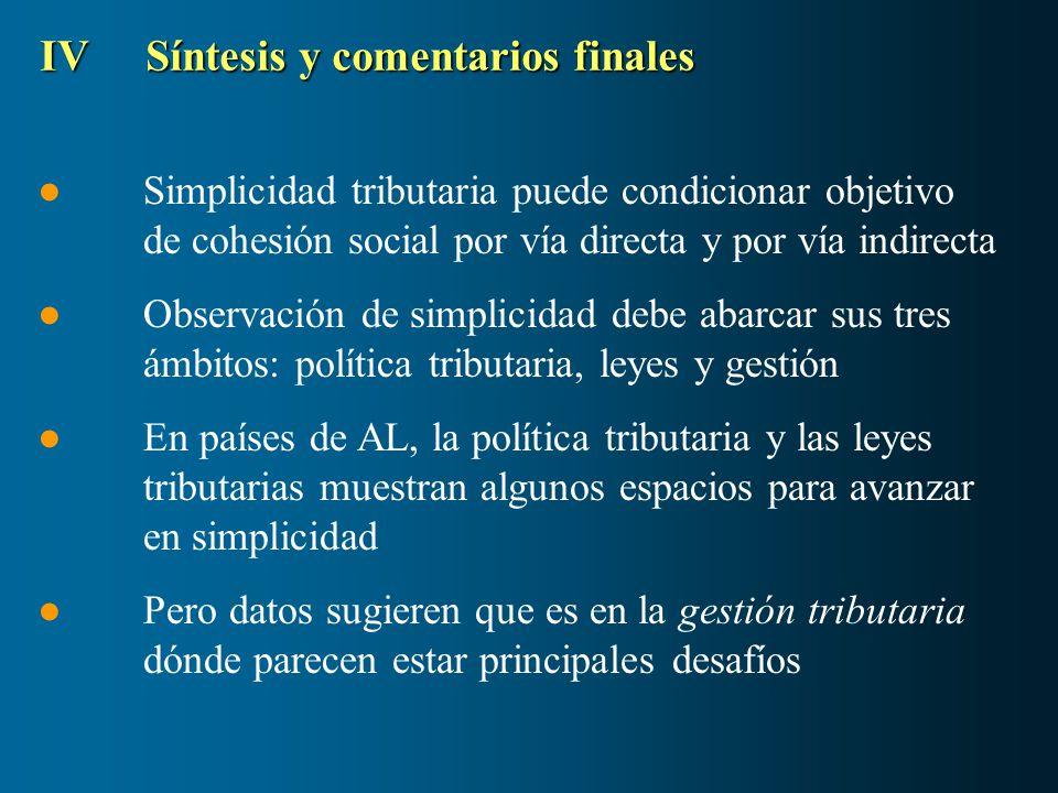 IVSíntesis y comentarios finales Simplicidad tributaria puede condicionar objetivo de cohesión social por vía directa y por vía indirecta Observación