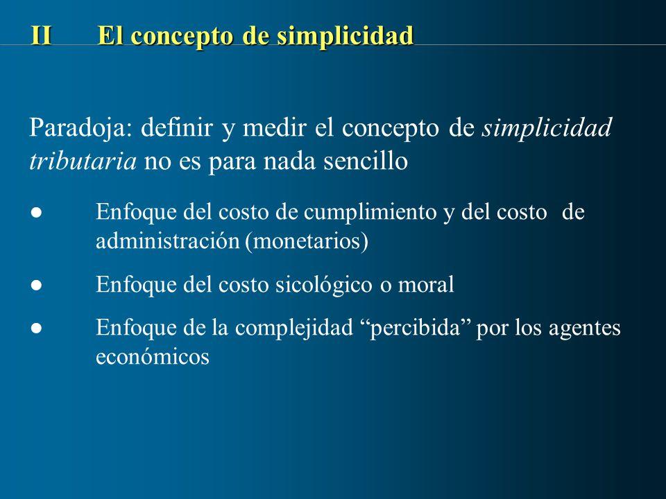 IIEl concepto de simplicidad Paradoja: definir y medir el concepto de simplicidad tributaria no es para nada sencillo Enfoque del costo de cumplimient