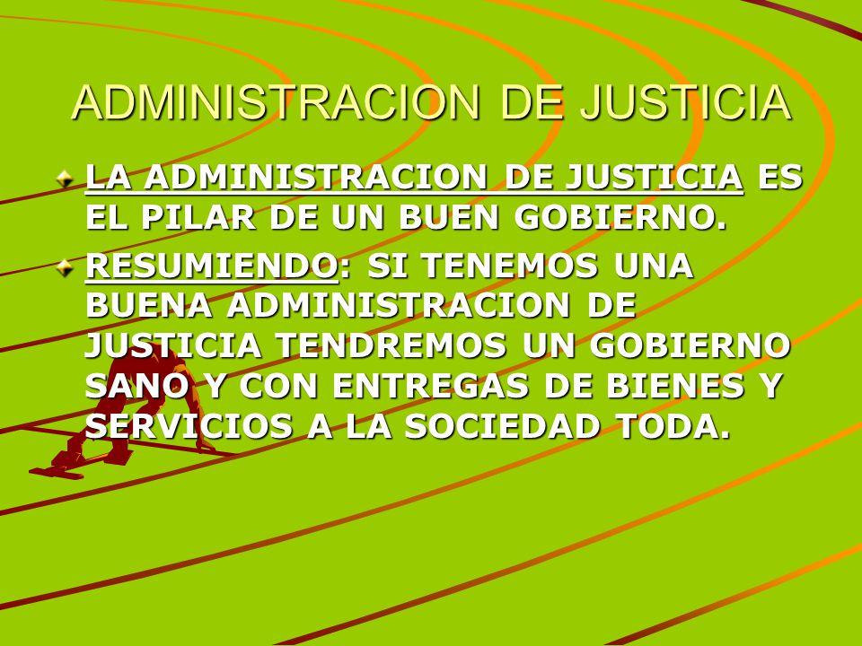 ADMINISTRACION DE JUSTICIA LA ADMINISTRACION DE JUSTICIA ES EL PILAR DE UN BUEN GOBIERNO. RESUMIENDO: SI TENEMOS UNA BUENA ADMINISTRACION DE JUSTICIA