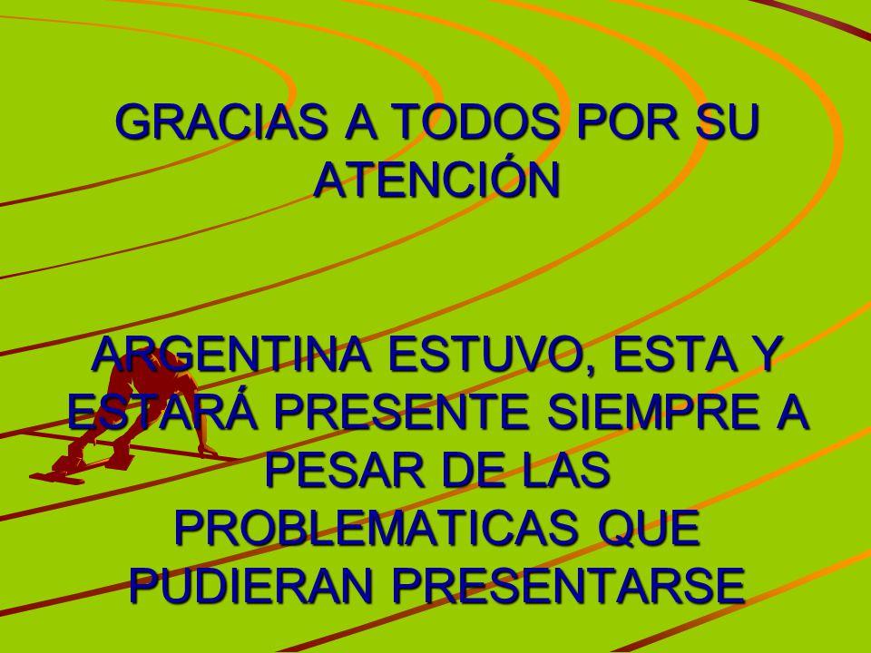 GRACIAS A TODOS POR SU ATENCIÓN ARGENTINA ESTUVO, ESTA Y ESTARÁ PRESENTE SIEMPRE A PESAR DE LAS PROBLEMATICAS QUE PUDIERAN PRESENTARSE