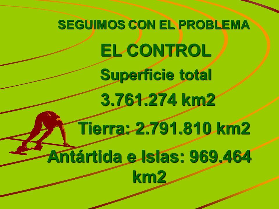 Superficie total 3.761.274 km2 SEGUIMOS CON EL PROBLEMA EL CONTROL Antártida e Islas: 969.464 km2 Tierra: 2.791.810 km2
