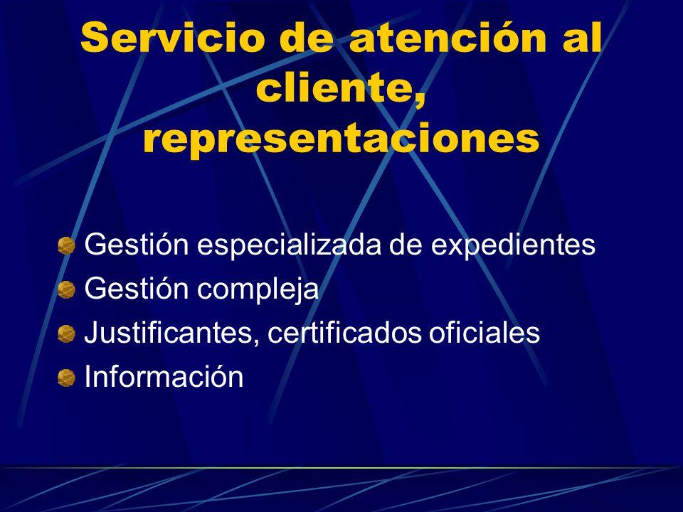 Servicio de atención al cliente, representaciones Gestión especializada de expedientes Gestión compleja Justificantes, certificados oficiales Información
