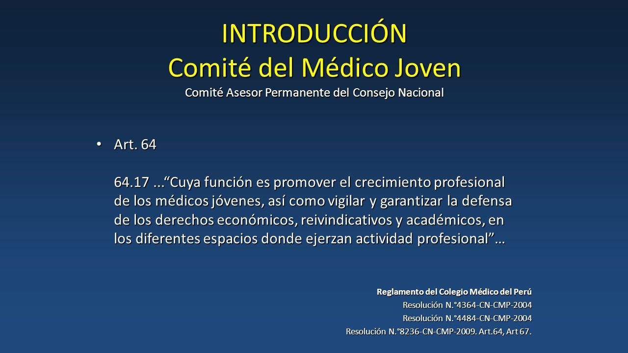 INTRODUCCIÓN Comité del Médico Joven Comité Asesor Permanente del Consejo Nacional Reglamento del Colegio Médico del Perú Resolución N.°4364-CN-CMP-2004 Resolución N.°4484-CN-CMP-2004 Resolución N.°8236-CN-CMP-2009.