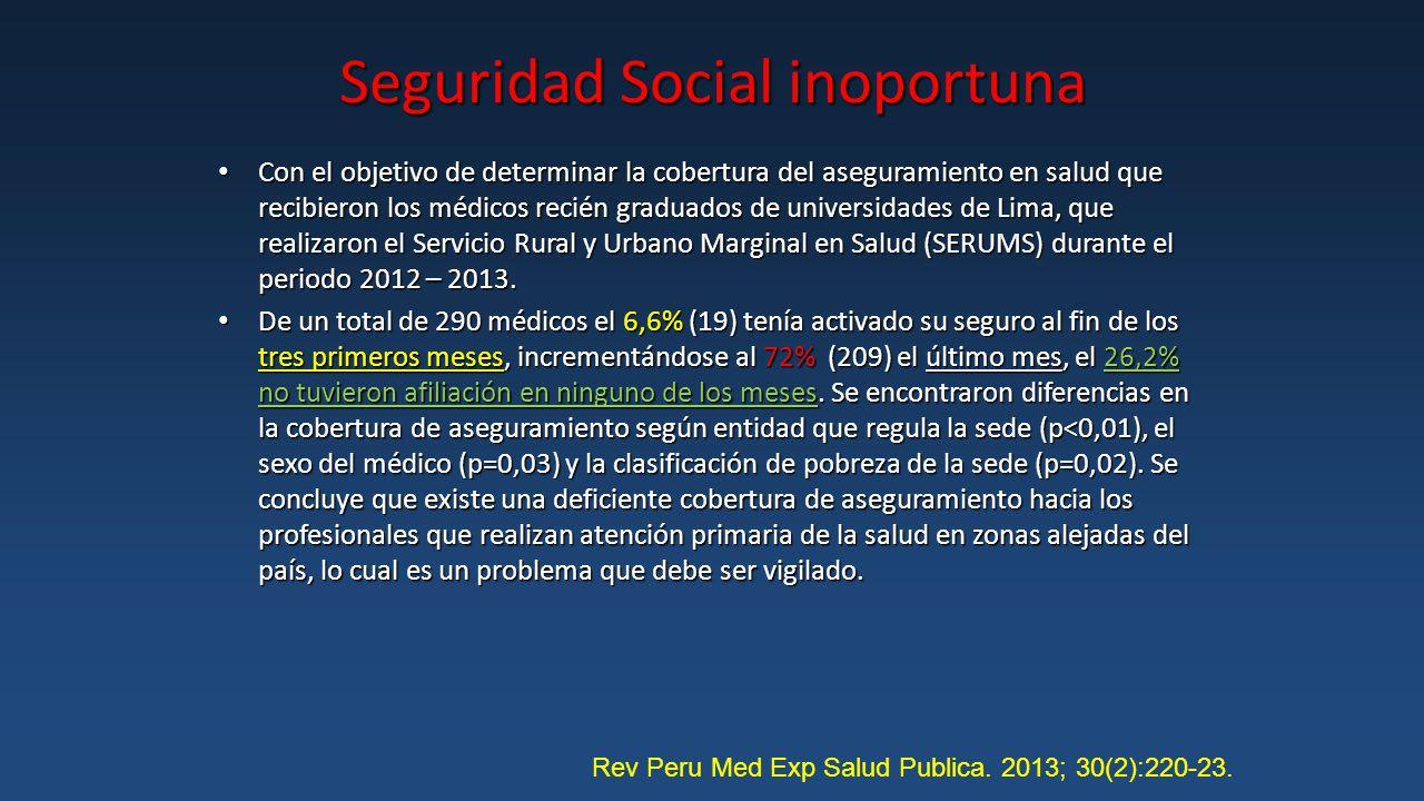 Seguridad Social inoportuna Con el objetivo de determinar la cobertura del aseguramiento en salud que recibieron los médicos recién graduados de universidades de Lima, que realizaron el Servicio Rural y Urbano Marginal en Salud (SERUMS) durante el periodo 2012 – 2013.