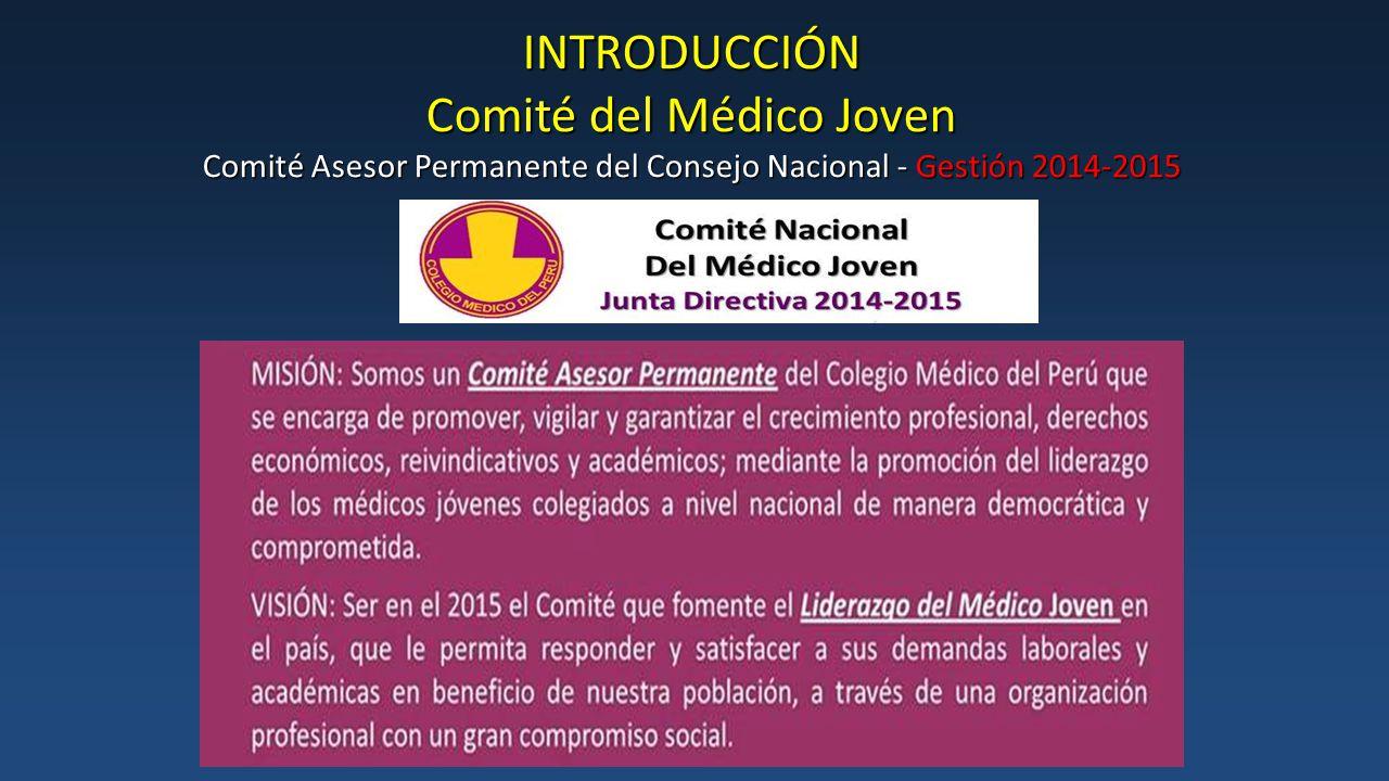 INTRODUCCIÓN Comité del Médico Joven Comité Asesor Permanente del Consejo Nacional - Gestión 2014-2015