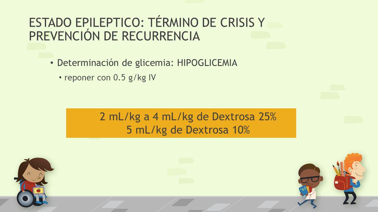 ESTADO EPILEPTICO: TÉRMINO DE CRISIS Y PREVENCIÓN DE RECURRENCIA Determinación de glicemia: HIPOGLICEMIA reponer con 0.5 g/kg IV 2 mL/kg a 4 mL/kg de