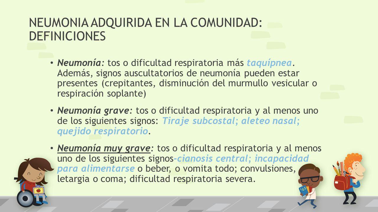 NEUMONIA ADQUIRIDA EN LA COMUNIDAD: DEFINICIONES Neumonía: tos o dificultad respiratoria más taquípnea. Además, signos auscultatorios de neumonía pued