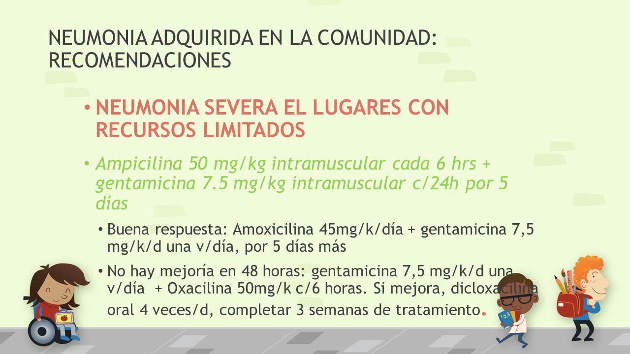 NEUMONIA ADQUIRIDA EN LA COMUNIDAD: RECOMENDACIONES NEUMONIA SEVERA EL LUGARES CON RECURSOS LIMITADOS Ampicilina 50 mg/kg intramuscular cada 6 hrs + g