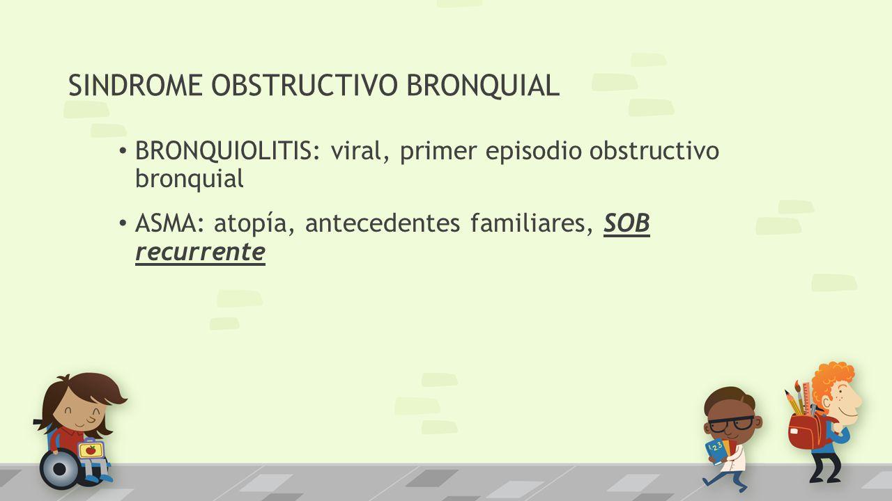 SINDROME OBSTRUCTIVO BRONQUIAL BRONQUIOLITIS: viral, primer episodio obstructivo bronquial ASMA: atopía, antecedentes familiares, SOB recurrente