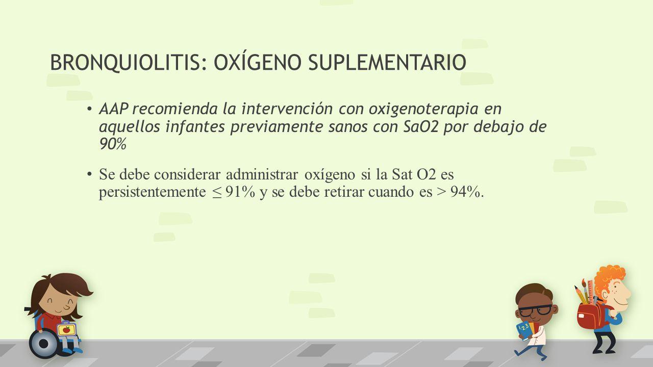 BRONQUIOLITIS: OXÍGENO SUPLEMENTARIO AAP recomienda la intervención con oxigenoterapia en aquellos infantes previamente sanos con SaO2 por debajo de 9
