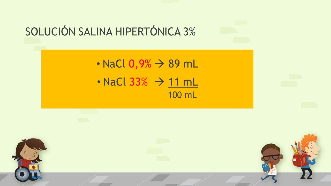 SOLUCIÓN SALINA HIPERTÓNICA 3% NaCl 0,9% 89 mL NaCl 33% 11 mL 100 mL