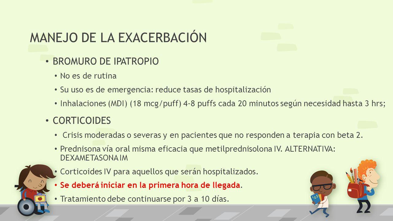 MANEJO DE LA EXACERBACIÓN BROMURO DE IPATROPIO No es de rutina Su uso es de emergencia: reduce tasas de hospitalización Inhalaciones (MDI) (18 mcg/puf