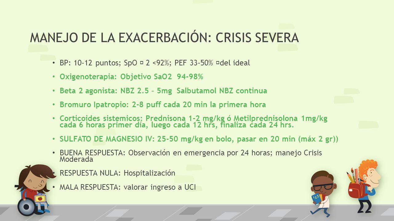 MANEJO DE LA EXACERBACIÓN: CRISIS SEVERA BP: 10-12 puntos; SpO ƒ 2 <92%; PEF 33-50% ƒdel ideal Oxigenoterapia: Objetivo SaO2 94-98% Beta 2 agonista: N