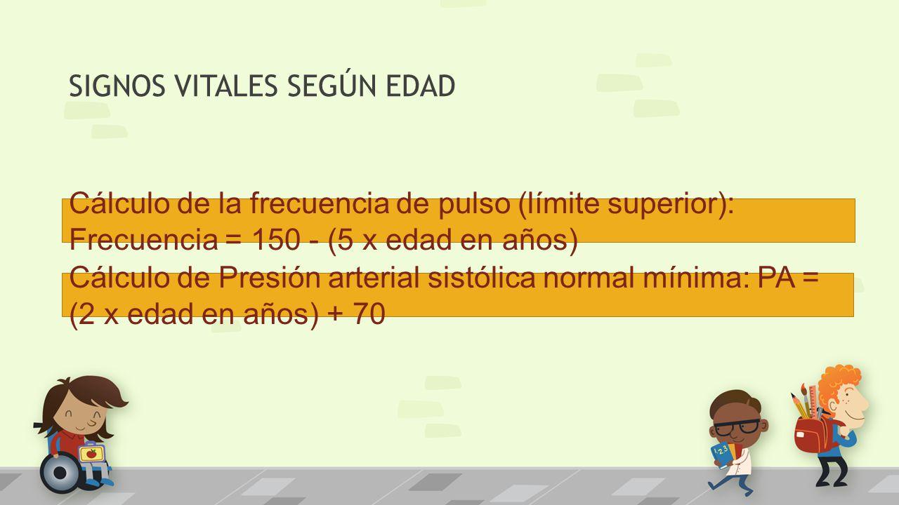 Cálculo de la frecuencia de pulso (límite superior): Frecuencia = 150 - (5 x edad en años) Cálculo de Presión arterial sistólica normal mínima: PA = (