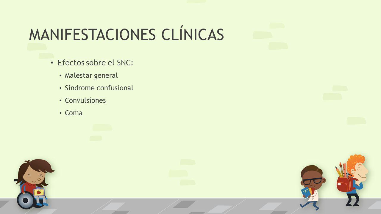 MANIFESTACIONES CLÍNICAS Efectos sobre el SNC: Malestar general Sindrome confusional Convulsiones Coma
