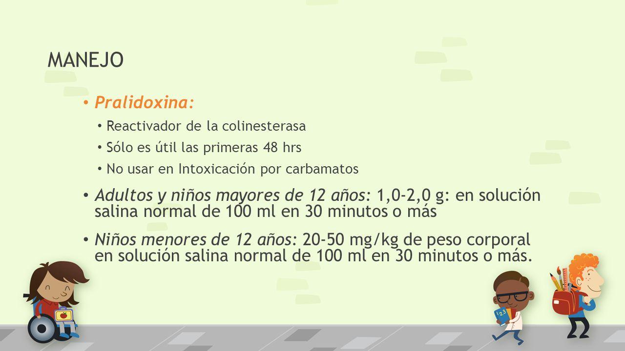 MANEJO Pralidoxina: Reactivador de la colinesterasa Sólo es útil las primeras 48 hrs No usar en Intoxicación por carbamatos Adultos y niños mayores de