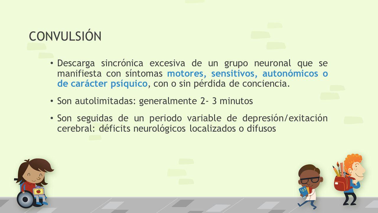 CONVULSIÓN Descarga sincrónica excesiva de un grupo neuronal que se manifiesta con síntomas motores, sensitivos, autonómicos o de carácter psíquico, c