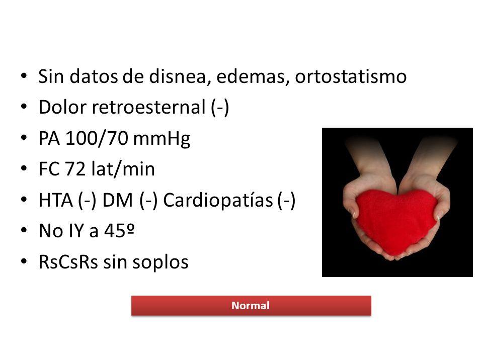 Sin datos de disnea, edemas, ortostatismo Dolor retroesternal (-) PA 100/70 mmHg FC 72 lat/min HTA (-) DM (-) Cardiopatías (-) No IY a 45º RsCsRs sin