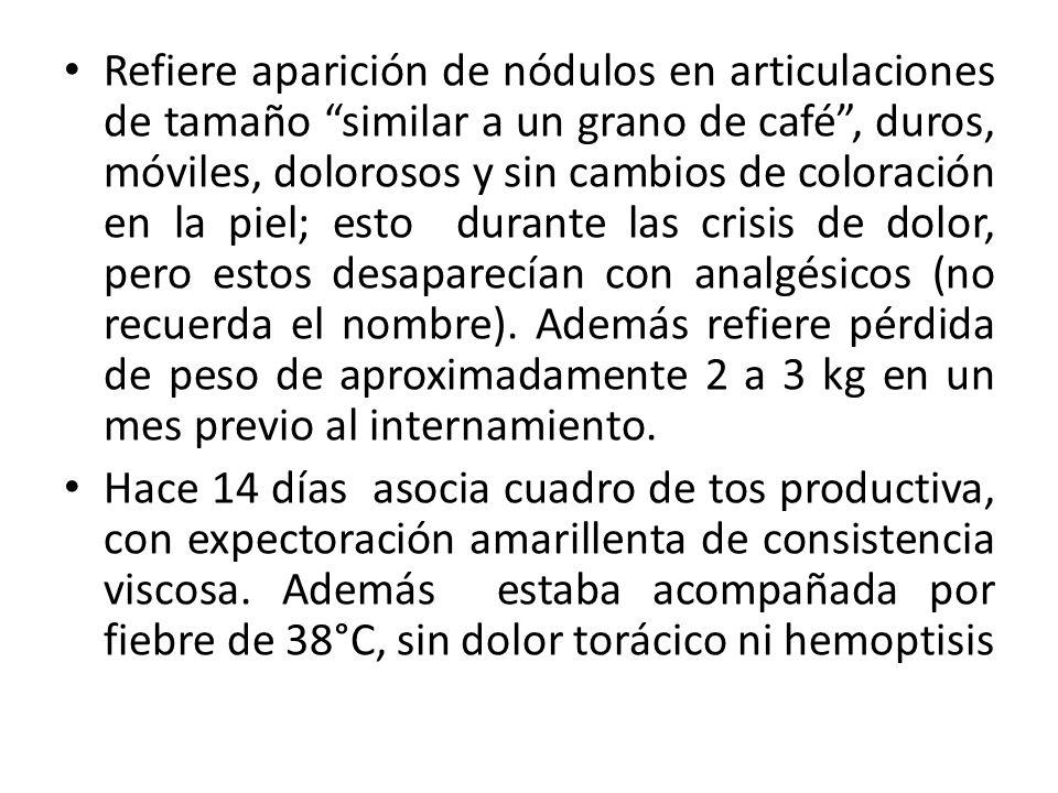 Serología inmunológica Coagulación20 agostoRef Anticoagulante lúpico34,6 Seg(<46) Anticoagulante lúpiconegativo Anticuerpos de enfermedades autoinmunes 13 agosto Anticuerpos antinuclearesPositivo dsDNA (Ui/ml)Mayor de 200 Cardiolipina MPendiente Cardiolip/GPendiente Cardiolipina totalPositivo C332* mg/dl (90-180) C44* mg/dl (10-40) ENAPositivo SM (U/ml)Pendiente RNP/SM Cuantificado (IU/ml)Pendiente SSA (U/ml)Pendiente SSB (U/ml)Pendiente Anticuerpos de enfermedades infecciosas 16 agostoRef Proteina C reactiva*0,65 mg/dL<0.34 mg/dL V.D.R.LNo reactivo V.E.S87 mm/hora<15 mm/hora Hepatitis y SIDA 16/8 HBs Ag (antígeno superficie) neg HIV 1 y 2 (AG-AC) neg