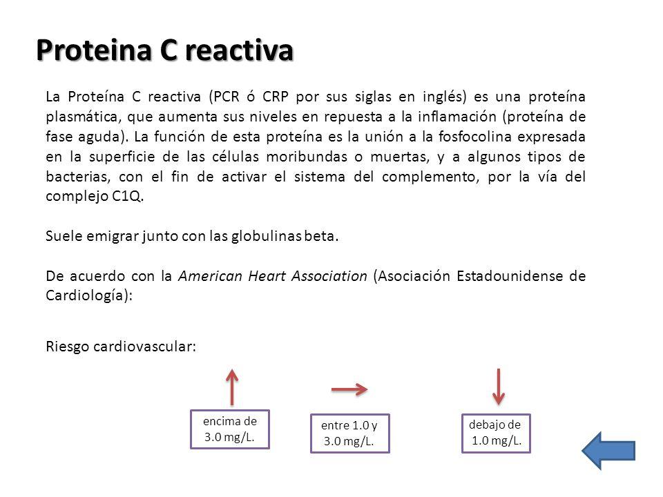 Proteina C reactiva La Proteína C reactiva (PCR ó CRP por sus siglas en inglés) es una proteína plasmática, que aumenta sus niveles en repuesta a la i