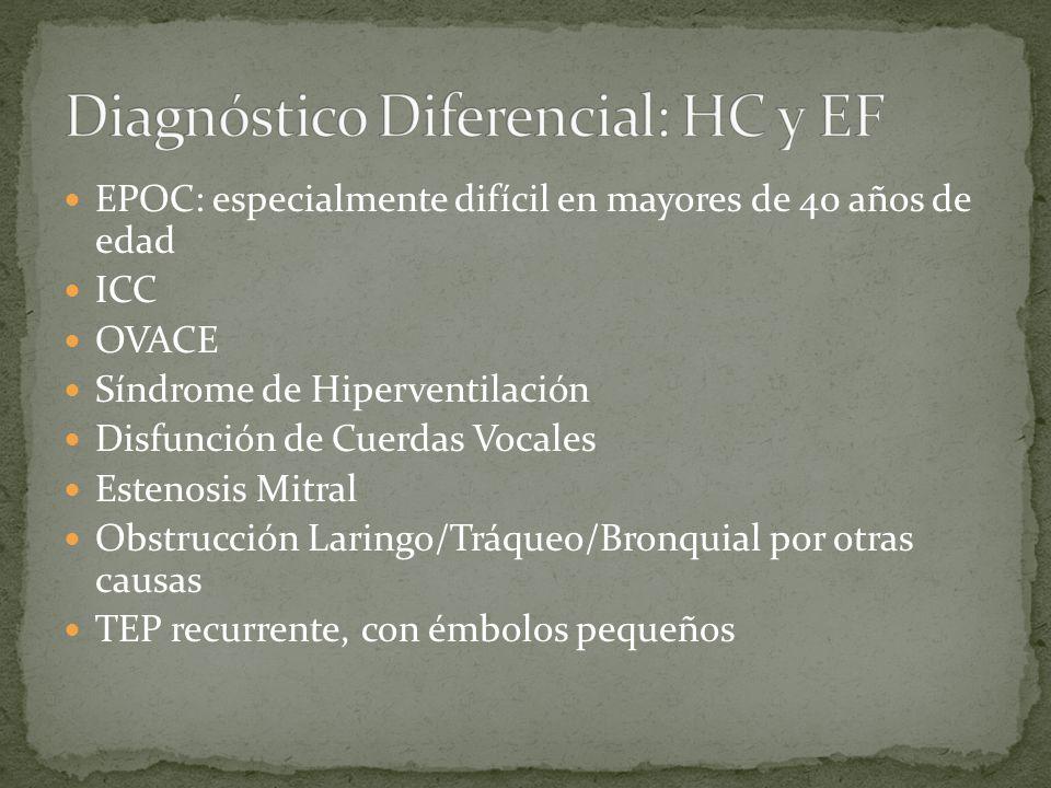 EPOC: especialmente difícil en mayores de 40 años de edad ICC OVACE Síndrome de Hiperventilación Disfunción de Cuerdas Vocales Estenosis Mitral Obstru