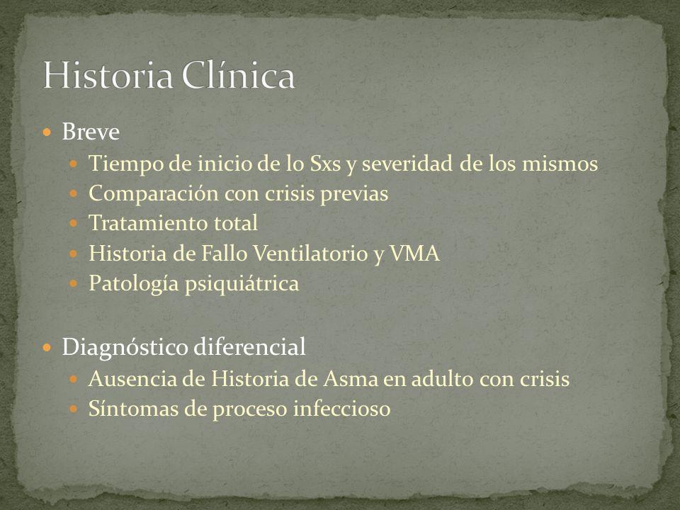Breve Tiempo de inicio de lo Sxs y severidad de los mismos Comparación con crisis previas Tratamiento total Historia de Fallo Ventilatorio y VMA Patol