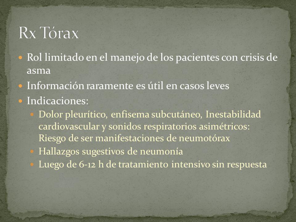Rol limitado en el manejo de los pacientes con crisis de asma Información raramente es útil en casos leves Indicaciones: Dolor pleurítico, enfisema su