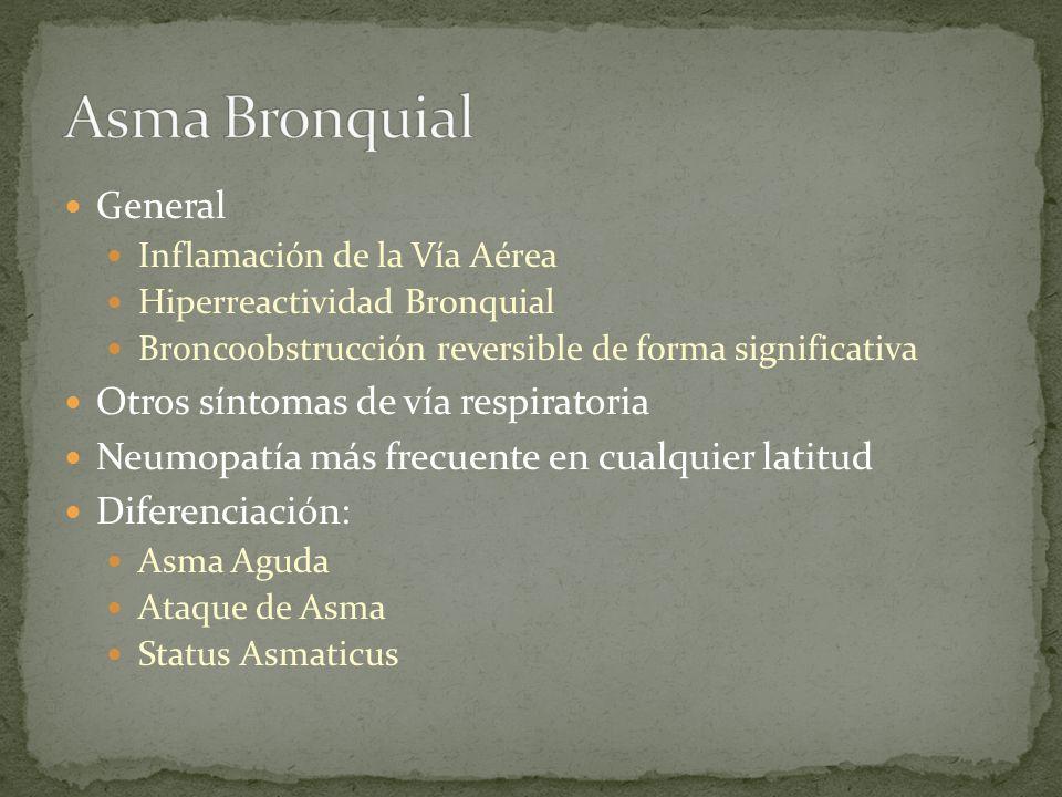 General Inflamación de la Vía Aérea Hiperreactividad Bronquial Broncoobstrucción reversible de forma significativa Otros síntomas de vía respiratoria