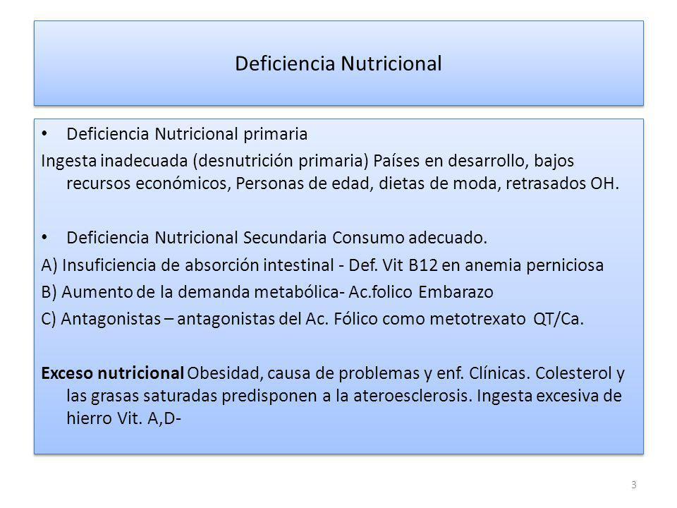 Principales nutrimentos humanos y trastornos causados por deficiencia o exceso nutricional NutrimentosImportancia Fisio.DeficienciaExceso ProteínasMúltipleMarasmoNinguno Ret.