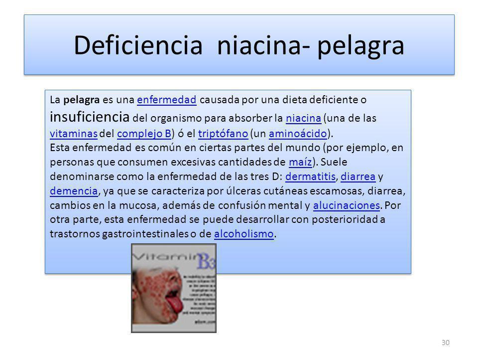 Deficiencia niacina- pelagra 30 La pelagra es una enfermedad causada por una dieta deficiente o insuficiencia del organismo para absorber la niacina (una de las vitaminas del complejo B) ó el triptófano (un aminoácido).enfermedadniacina vitaminascomplejo Btriptófanoaminoácido Esta enfermedad es común en ciertas partes del mundo (por ejemplo, en personas que consumen excesivas cantidades de maíz).