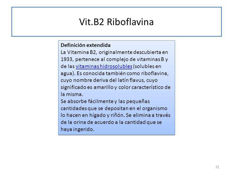 Vit.B2 Riboflavina 32 Definición extendida La Vitamina B2, originalmente descubierta en 1933, pertenece al complejo de vitaminas B y de las vitaminas hidrosolubles (solubles en agua).