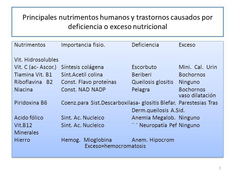 Principales nutrimentos humanos y trastornos causados por deficiencia o exceso nutricional NutrimentosImportancia fisio.DeficienciaExceso Vit.
