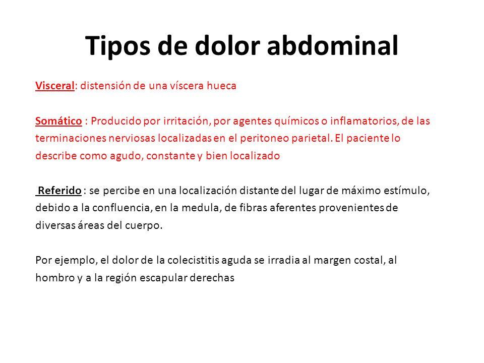 Tipos de dolor abdominal Visceral: distensión de una víscera hueca Somático : Producido por irritación, por agentes químicos o inflamatorios, de las t