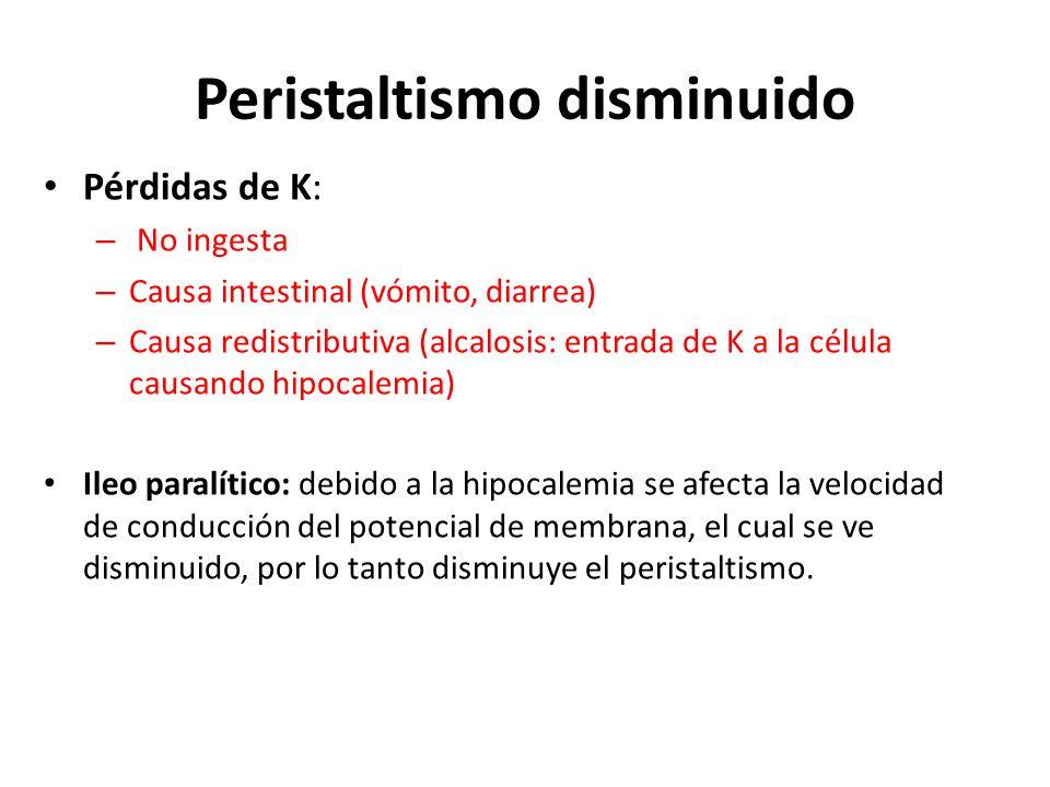 Peristaltismo disminuido Pérdidas de K: – No ingesta – Causa intestinal (vómito, diarrea) – Causa redistributiva (alcalosis: entrada de K a la célula