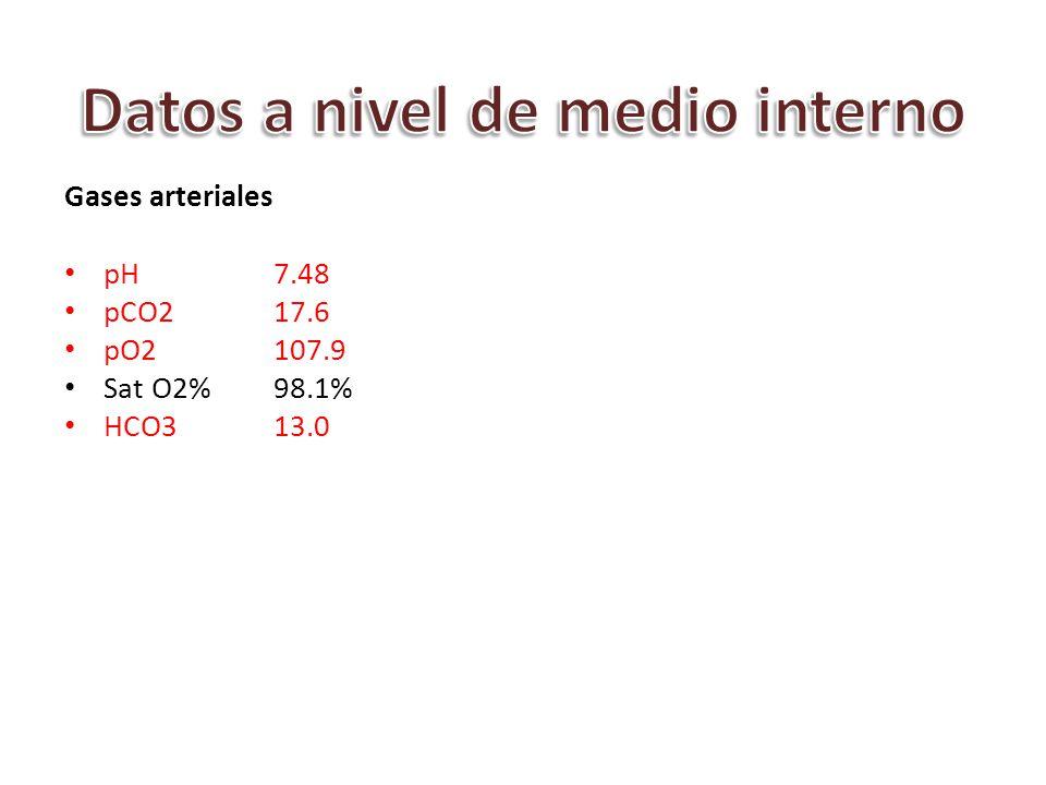 Gases arteriales pH7.48 pCO2 17.6 pO2 107.9 Sat O2%98.1% HCO313.0