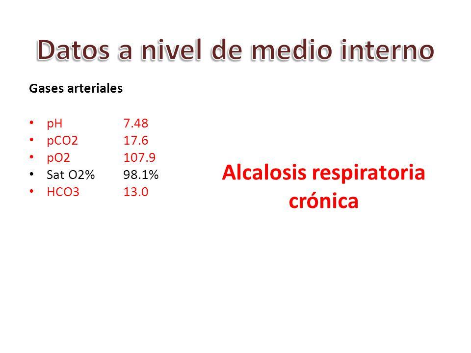 Gases arteriales pH7.48 pCO2 17.6 pO2 107.9 Sat O2%98.1% HCO313.0 Alcalosis respiratoria crónica