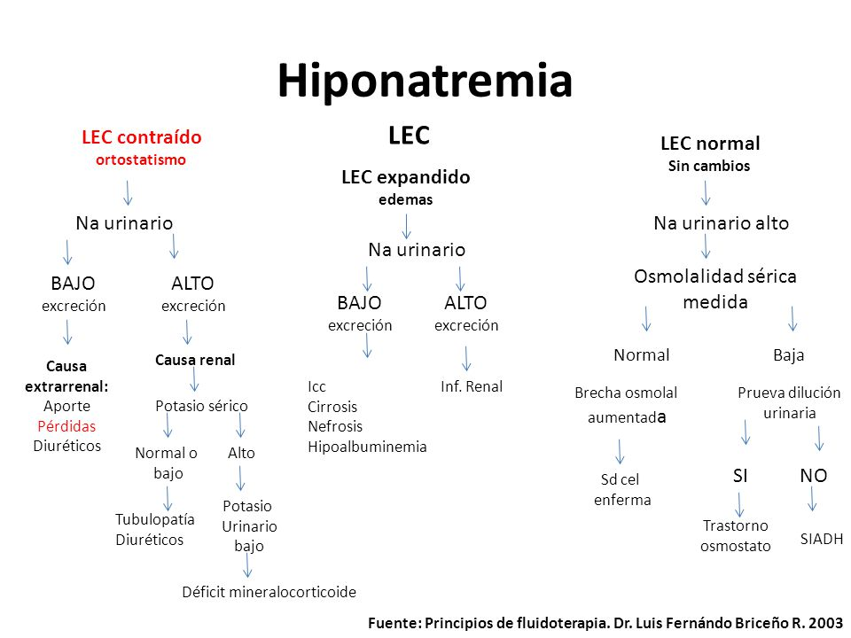 Hiponatremia LEC contraído ortostatismo LEC expandido edemas LEC normal Sin cambios LEC Na urinario BAJO excreción ALTO excreción Causa extrarrenal: A